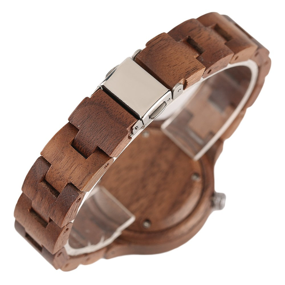 custom gift brands Wooden Quartz Bamboo Wristwatch Chocolate by carved nature