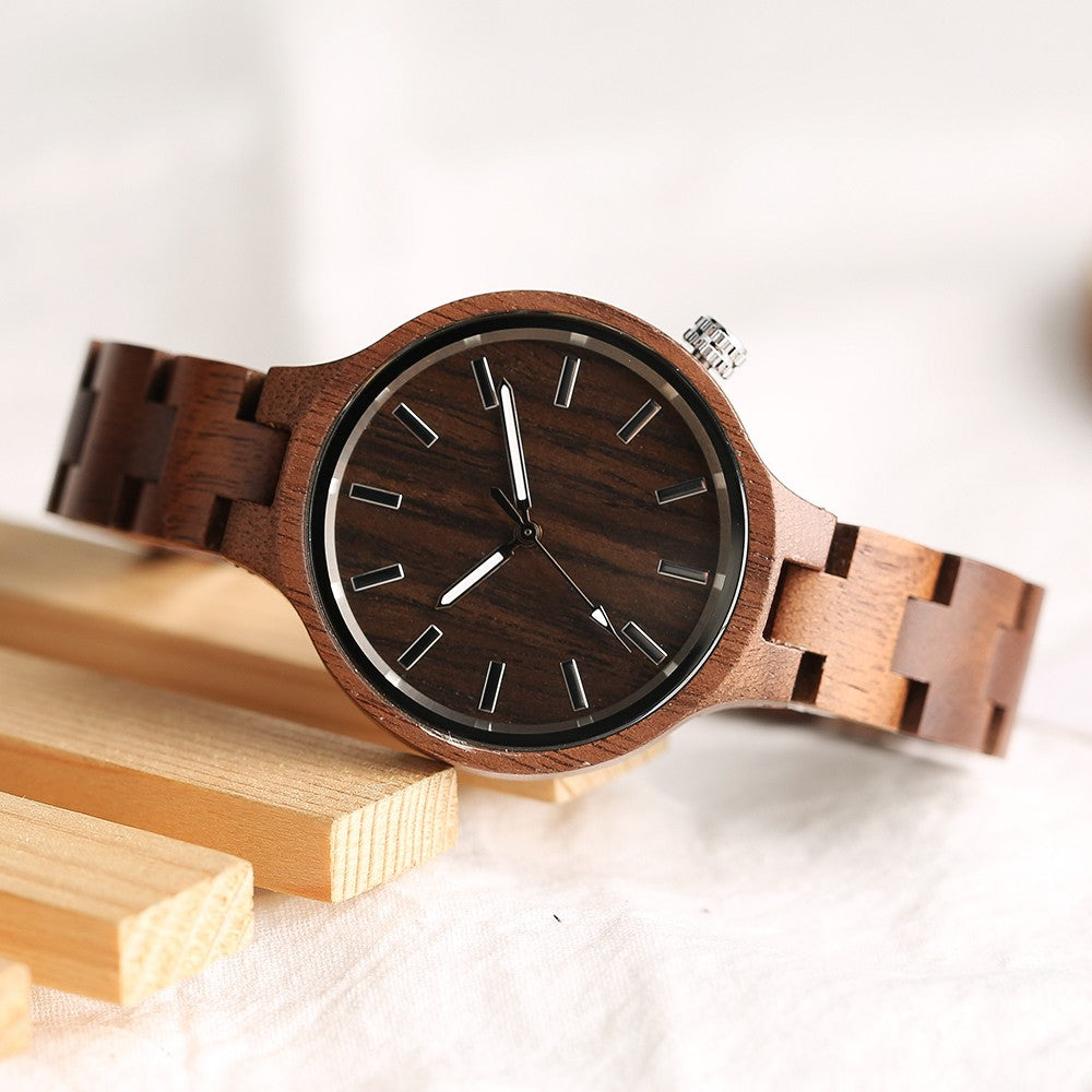 Wooden Quartz Bamboo Wristwatch custom wooden gift  by carved nature