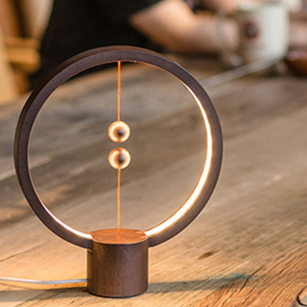 Wooden Creative Magnetic Switch Balance USB Light Lamp