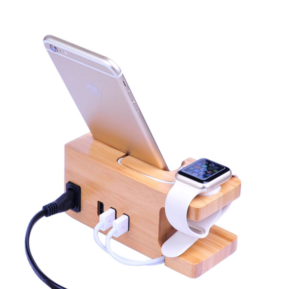 Bamboo Docking Station With 2 USB Ports by carved nature