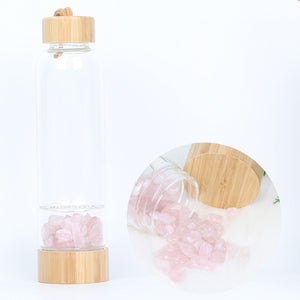 Bamboo gemstone eco friendly water bottle by carved nature for healthy living  pink
