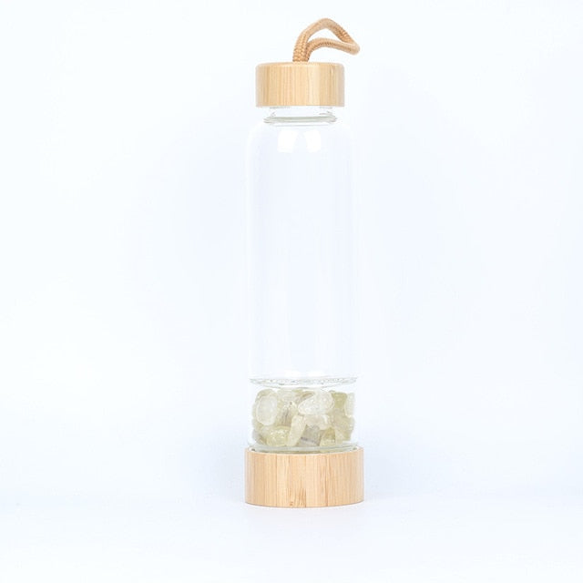 Bamboo gemstone eco friendly water bottle by carved nature for healthy living