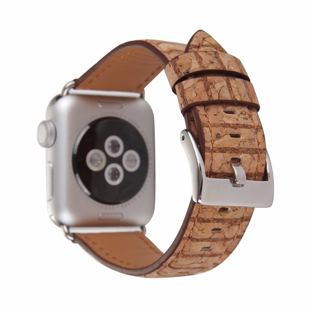 Apple Watch Wooden Grain Leather Watch Strap - Carved Nature