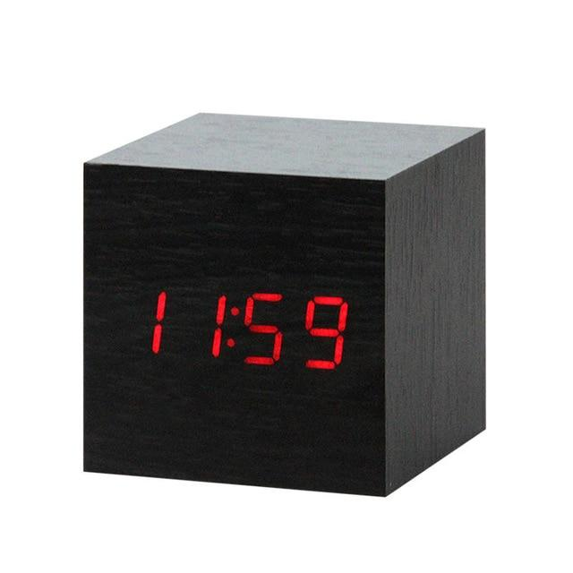 LED Wooden Alarm Clock  With Voice Control black square