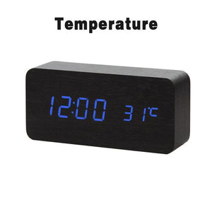 black LED Wooden Alarm Clock  With Voice Control