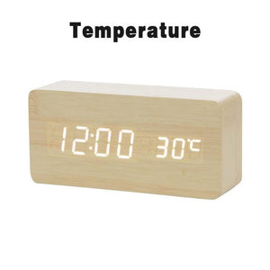 LED Wooden Alarm Clock  With Voice Control