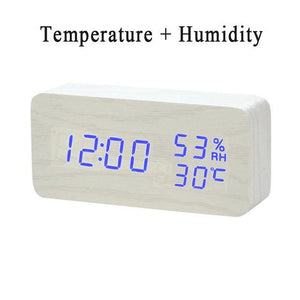 LED Wooden Alarm Clock  With Voice Control WHITE
