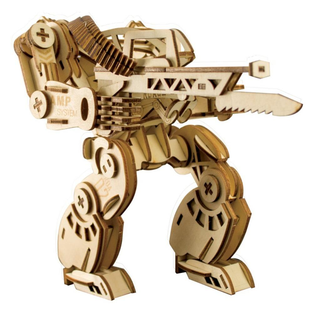 Armor Wooden Robot In Three-dimensional Puzzle