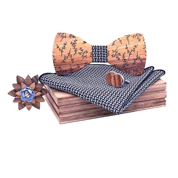 Engraving Geometric Wooden Bow Tie Gift Set ( 4 pcs)