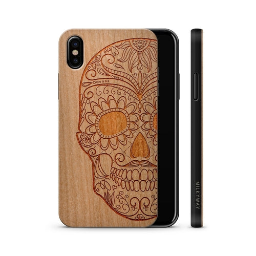 Wood Case - Half Sugar Skull by carved nature