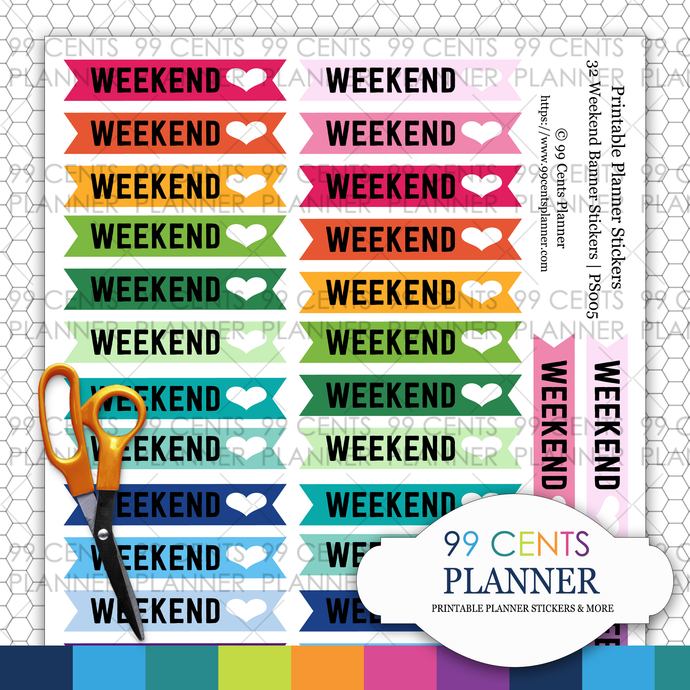 Weekend Banner | Printable Planner Stickers | Erin Condren Planner Stickers
