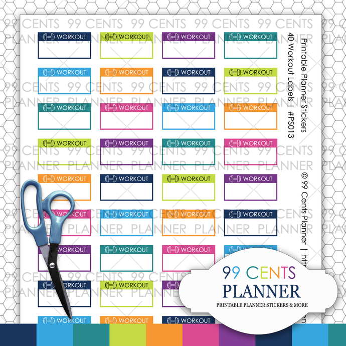 40 Workout Labels | Printable Planner Stickers | Erin Condren Planner Stickers