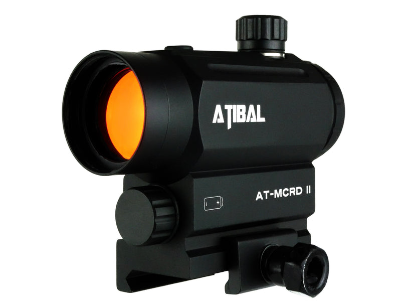 Atibal MCRD II, MCRD 2,  Micro Red Dot Sight features a solid 1 piece construction, 18 brightness settings, 2 operation modes, an auto shut-off function, and gets thousands of hours of battery life from one AAA battery.  Atibal MCRD Red Dots are available in low profile or absolute co-witness heights.