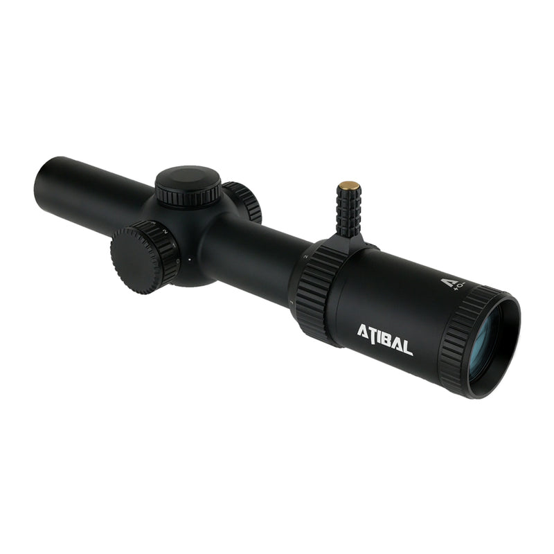 The Atibal XP6 1-6x24 Mirage is a First Focal Plane rifle scope with an illuminated reticle and integrated rapid view lever.  The XP6 features fully multi-coated lenses with our extra low dispersion ultra clear glass.  Engage short to medium distance targets confidently with the Atibal XP6.