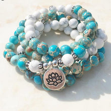 Load image into Gallery viewer, Howlite Mala (Lotus)