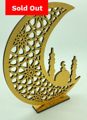 Crescent & Mosque Stand - Freestanding (Gold)