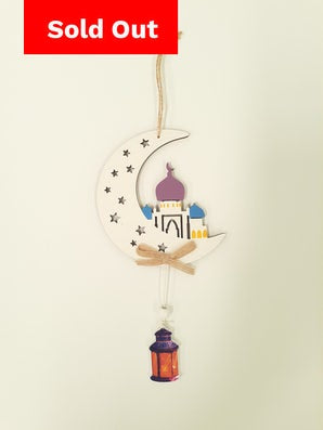 Colourful Hanging Crescent, Mosque & Lanterns White (Large) (3 Domes)
