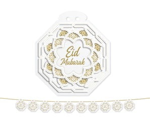 Eid Garland Medium (White/Gold Octagon) 2021
