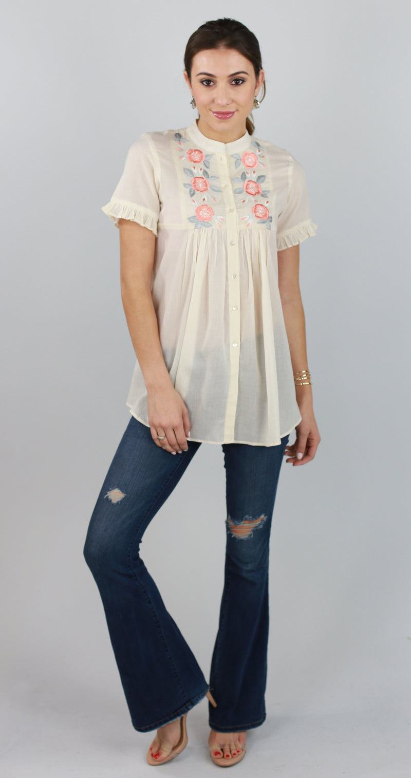 Blossom Embroidered Top