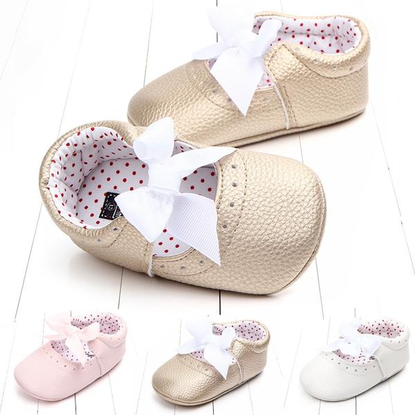 New 2018 Newborn Infants Girls PU Leather Bow Moccasins Sequin Soft Sole Shoes 0-18M