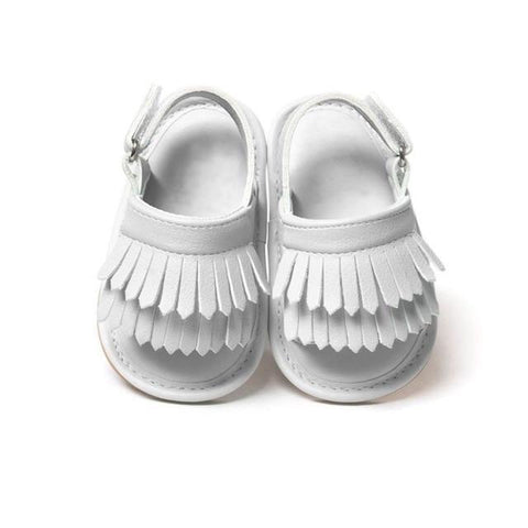 Pearl White Tassel Sandals