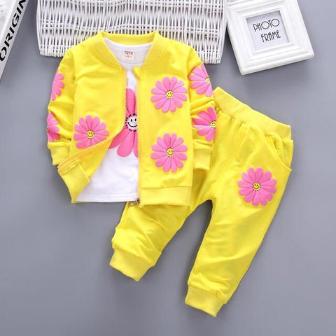 Yellow Flower Printed Design Clothing Set