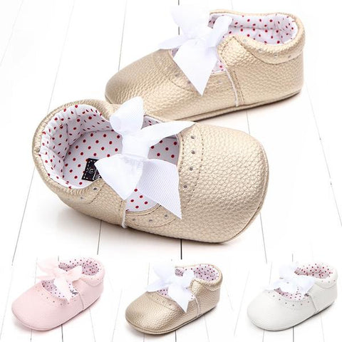 Girls PU Leather Bow Moccasins Infants Shoes