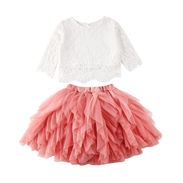 NEW 2020 Toddlers Fall Fashion BABY GIRLS TOPS AND LACE TUTU SKIRT RUFFLE OUTFITS SIZES 2T-6YRS