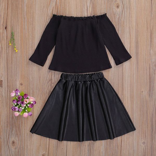 NEW 2020 Toddlers Fall Fashion BABY GIRLS  2PCS OFF SHOULDER LEATHER TOP AND A-LINE BLACK SKIRT OUTFITS SIZES 3T-7YRS