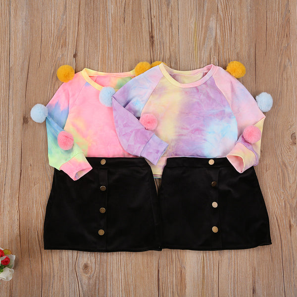 NEW 2020 Fall Fashion Toddler Girls POMPOM TIE DYE LONG SLEEVE PRINT 2PCS SET OUTFITS SIZES 12M-4YRS