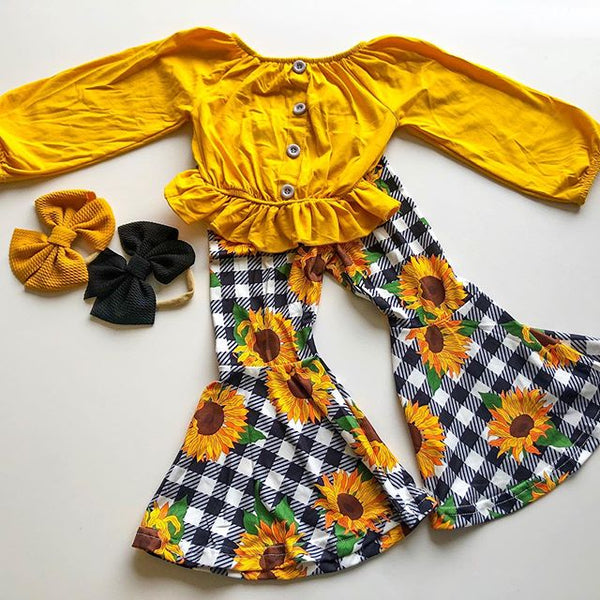 NEW 2020 Fall Fashion BABY GIRLS LONG SLEEVE SUNFLOWER 2PCS SET OUTFITS SIZES 24M-5YRS
