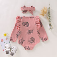2021 Spring/Summer Baby Girls Khaki Long Sleeve Bodysuits 2pcs Newborn Sets Size 0-18M
