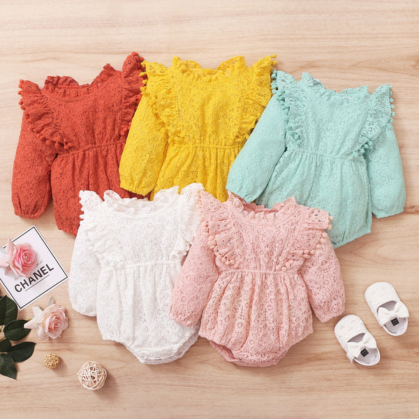 2021 Newborns/Infants Spring Baby Girls Long Sleeve Bodysuits Lace Clothing Size 0-24M