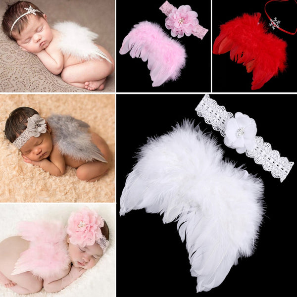 Newborn Girls Photography Props Angel Feather Wings Set+ Headband Outfit Clothing