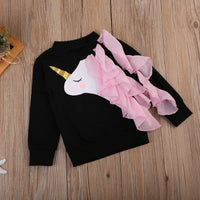 Baby Girls Long Sleeve Top With Black Pink Unicorn Print Tops Casual Girls Wear