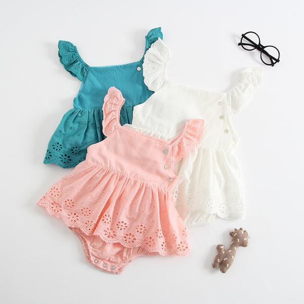 New Summer Baby Girls Cotton Sleeveless Bodysuit Outfits Sizes 6M-3T