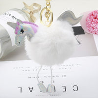 "Unicorn Clips & Without Clip Bows 7"" With Elastic And Keychains Accessories"