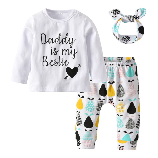 Newborns Baby Girls Fall 3pcs Clothing Set