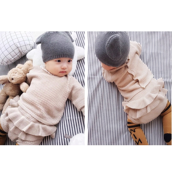Newborn Infants Baby Girls Fall Knitted 2pcs Clothing Sets Collection