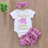 Newborn Baby Girls 3pcs Little Peanut Romper Sets Sizes 6M-24M