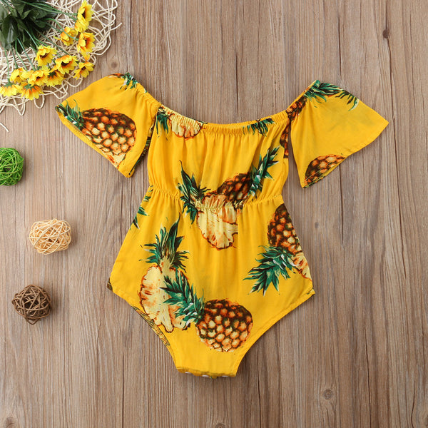 Brand New Newborns/Infants Baby Girls Off Shoulder Bodysuit Pineapple Print Sizes 6M-24M