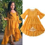New Bohemian Half Sleeve Toddler Girls Party/Beach Dress Sizes 18M-5YRS
