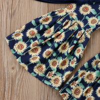 Brand New Spring/Summer Baby Girls Short Sleeve Tube Top+Floral Sunflower Print 2pcs Set Sizes 12-5YRS