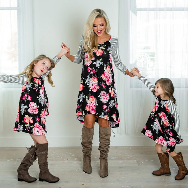2019 Matching Mom and Daughters Bohemian Summer Floral Dress Outfits