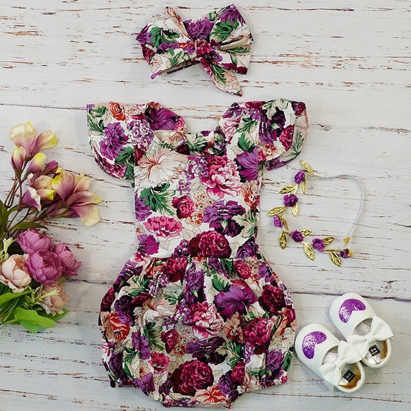 New 2019 Infants Baby Girls Purple Vintage Jumpsuit Sizes 6M-24M