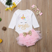 Newborn 2019 Baby Girls 3pcs Unicorn Long Sleeve Bodysuit Sets Sizes 6M-24M