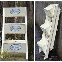 3 tier ladder style foldable shabby off-white wood flower stand designs