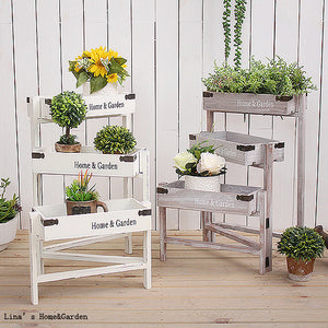 home and garden indoor 3 tier folding small antique wooden plant stand