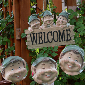 Welcome Sign Garden Gnome Figurine Outdoor Statue/Miniature Fairy Garden