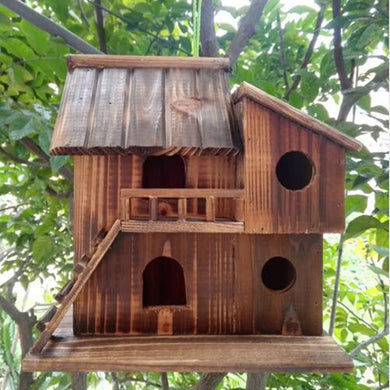 2 Story Hand made Wood outdoor birds nest